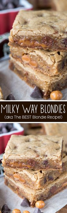Milky Way Blondies - this is the BEST Blondie recipe! The base recipe is so easy and can be made any way you like them! Milky Way Blondies - this is the BEST Blondie recipe! The base recipe is so easy and can be made any way you like them! 13 Desserts, Brownie Desserts, Brownie Recipes, Cookie Recipes, Cheesecake Brownies, Fudge Brownies, Chocolate Desserts, Paleo Dessert, Dessert Bars