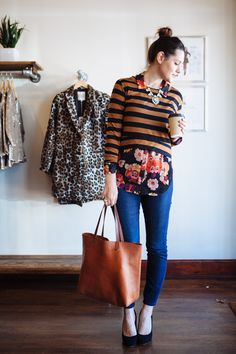 Stripes + florals + skinnies + uber cute accessories = totally fun perfectly mismatched casual chic