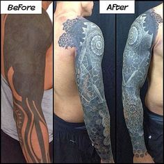 A before and after picture showing the amount of work Nathan Mould put on a sleeve.