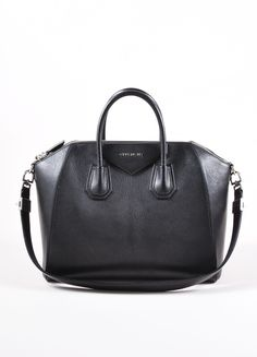 "Black Leather Medium Top Handle ""Antigona"" 2 Way Satchel Bag"