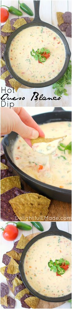 This hot, cheesy dip is perfect for game day!  Loaded with two types of cheese, along with fresh tomatoes, jalapenos, and onions, this restaurant-style queso is the perfect appetizer anytime you want a great snack! #foodshouldtastegood #spon