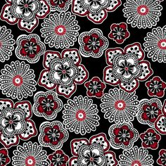 Black Floral Rendezvous Fabric Fat Quarter Half Yard by TCSFabrics