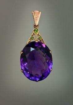 antique amethyst jewelry | vintage amethyst jewelry - art deco siberian amethyst pendant necklace