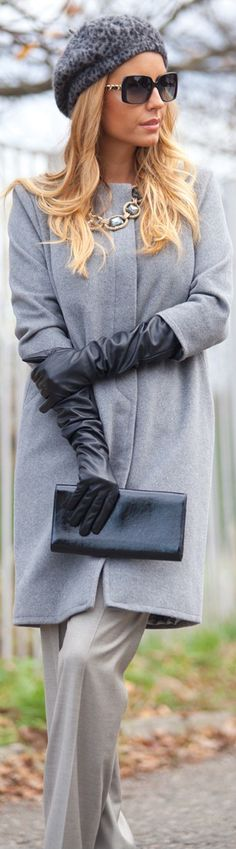 Coat by Jovana Sesevic  Hugo Boss pants, Forever new beret, Chanel sunglasses, YSL clutch, Zara gloves