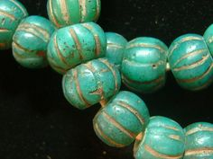 Very old Chinese melon beads lovely deep teal by OasisAfricanTrade, $1800.00