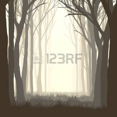 silhouette: Vector illustration of trees with grass and meadow on edge of forest. Illustration