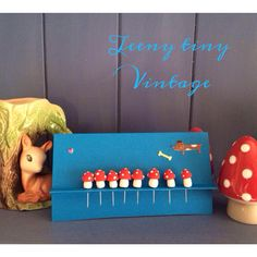 Toadstool pins from Teeny tiny Vintage On Facebook, Etsy