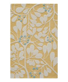 Look at this Gold Floral Wool Rug on #zulily today!
