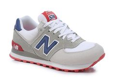 New Balance Running Shoes Light Gray/Gray/Red Mens/Womens Couple Classics Sneakers 574