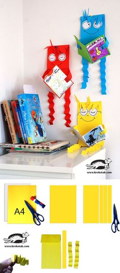 These are cute little reading buddies or reading figures, you as a teacher can make to hang by the bookshelves or reading area in your classroom. You can make them bright colors to make your classroom more fun! Library Displays, Classroom Displays, Classroom Decor, Book Displays, Kids Crafts, Craft Projects, Library Lessons, Art Lessons, Library Art