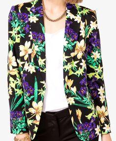 Tropical Flower Knit Blazer