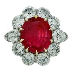 Aletto Brothers 8.66 Carats AGL No Heat Burma Ruby Diamond Platinum Ring | From a unique collection of vintage engagement rings at https://www.1stdibs.com/jewelry/rings/engagement-rings/