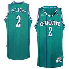 Charlotte Hornets Larry Johnson Sewn Throwback Jersey 911dda3ef