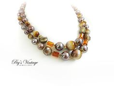 Beautiful Vintage Browns, Golds, Lucite//Art Glass Bead Double Strand Choker/Necklace
