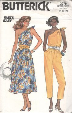 3a48211cdba Butterick 3279 1980s Misses One Shoulder Jumpsuit and Dress 1980s Dresses