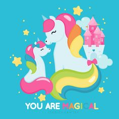 Mother and daughter unicorns I Am A Unicorn, Unicorn Art, Art Pictures, Art Images, Unicorn Quotes, Unicorn Pillow, Unicorns And Mermaids, Wallpaper Backgrounds, Wallpapers