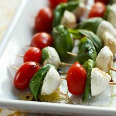 "People love ""mini"" foods. These caprese salads on a stick along with other appetizers make the best wedding passed appetizers according to this site."