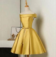 Gold Bridesmaid Dress,Short Bridesmaid Dress,Elegant Party Dress,Short Homecoming Dresses,Short Prom Dresses by olesaweddingdresses, $116.52 USD