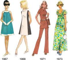 evolução de moda feminina - de 1967 a 1973