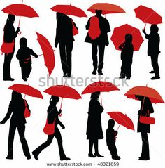 Set of vector silhouettes of people with red umbrella - stock vector