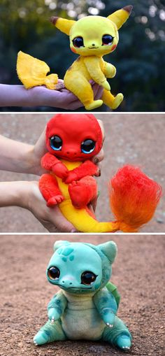 If you're not already satisfied with the cuteness level of regular Pokemon plushies, check out these custom made dolls! These one of a kind Pokemon dolls are completely handmade with glass eyes, high quality faux fur and a fully posable wire skeleton. Pokemon Dolls, Pokemon Plush, Cute Pokemon, Pokemon Stuff, Pokemon Cards, Cute Fantasy Creatures, Magical Creatures, Baby Animals, Cute Animals