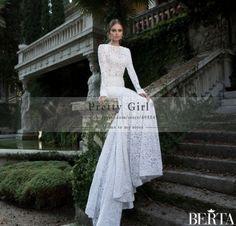 Elegant Lace Mermaid Berta Wedding Dresses Cheap Romantic See Through Backless Long Sleeve Wedding Dress vestido de noiva curto