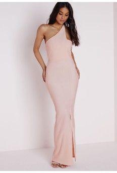 Front Split One Shoulder Maxi Dress Blush