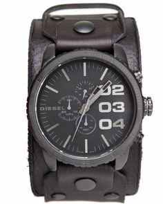 Diesel Men Leather Cuff 51Mm Face Watch Black