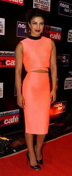 Priyanka Chopra at Hindustan Times Mumbai's Most Stylish Awards 2014. #Style #Bollywood #Fashion #Beauty