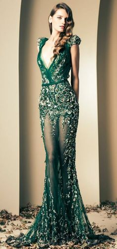 Green couture dress lace and embroidery
