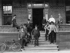 https://flic.kr/p/r2DGPM | Men Outside of the Algoma Hotel | Description: This photograph shows an unidentified (but well-dressed!) group of men posing on the front porch of the Algoma Hotel on Cumberland Street in Port Arthur.   Accession No.: 983.86.147