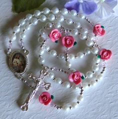 Pink Rose First Communion Girls Rosary by HeavenlyHandsMade, $34.00