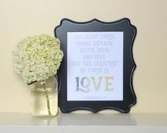 The Greatest of these is Love  Art print, Bible verse art, Bible verse printable, 1 Corinthians 13:13