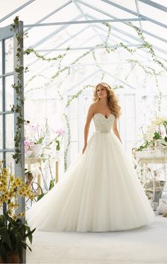 Mori Lee bridal gown. Wedding ballgown. Beaded bridal gown with beaded belt. Mori Lee bridal. 2802