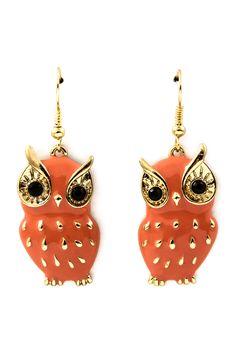 Coral Owl Earrings