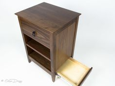 Qline Secret Agent Nightstand | QLine Design Pvc Pipe Projects, Lathe Projects, Wood Router, Wood Lathe, Cnc Router, Secret Compartment Furniture, Secret Hiding Places, Diy Nightstand, Bedside