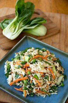 Asian-style brown rice salad with shredded chicken