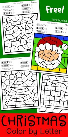 FREE Christmas coloring worksheets to practice alphabet letters, fine motor skills and color words. Great for a fun preschool or kindergarten Holiday activity where kids can color Santa Claus, Christmas tree, an Elf, ornaments and presents!