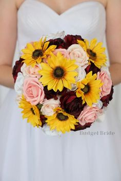 This is a stunning round sunflower bouquet with burgundy roses, sunflowers, blush pink roses Ivory Rose Bouquet, Ivory Roses, Blush Roses, Pink Roses, Blush Pink, Red Rose Wedding, Daisy Wedding, Wedding Cake, Wedding Stuff