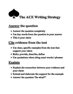 Ace Writing Strategy And Format For Literary Analysis Or