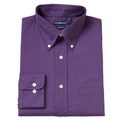Men's Croft & Barrow® Fitted Solid Broadcloth Button-Down Collar Dress Shirt, Size: 15-32/33, Purple