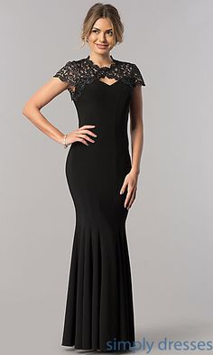 Lace Appliqued Yoke Long Mother-of-the-Bride Dress