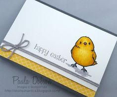 handmade Easter card fro Stampinantics ... black, white, gray and yellow ... chick ... great card!