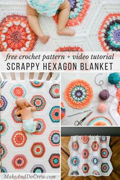 Inspired by vintage quilt patterns, this Grandmother's Flower Garden crochet blanket pattern perfect to make from yarn cakes or yarn scraps. Worked as individual hexagons with the option to join as you go, this free pattern + video tutorial offers endless possibilities in size and color.     #makeanddocrew #crochet #hexagons #videotutorial #freepattern #vintage #modern #babyblanket #genderneutral  via @makeanddocrew Crochet Hexagon Blanket, Crochet Quilt Pattern, Modern Crochet Blanket, Crochet Blanket Tutorial, Crochet Blanket Patterns, Modern Crochet Patterns, Crochet Squares, Crochet Flower Tutorial, Crochet Blankets