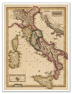 Elegant Map of ITALY circa 1822  measures 24 high x 18 wide 610mm high x 457mm wide * Check out the image by visiting the link.Note:It is affiliate link to Amazon.