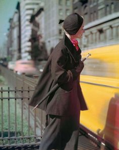 Lisa Fonssagrives on Park Avenue, Norman Parkinson, US Vogue, 1949.