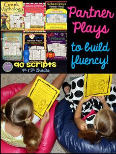 90 partner play scripts for 4th and 5th grade students working to improve reading fluency! This is a perfect reading center that students can do with a partner while the teacher is working with a small group. The bundle includes the 6 sets shown, plus 12 MORE SETS! Best of all... kids LOVE them!!