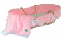 Pink Minky Dot Bedding with Moses Basket by Baby Gifts N Treasures.com