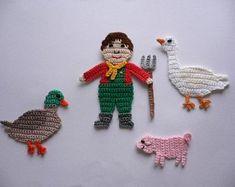 Crochet applique – Bauer (without T. Crochet Home, Crochet Gifts, Crochet Motif, Crochet Patterns, Applique Patterns, Applique Quilts, Quilt Pattern, Hello Kitty Crochet, Loom Knit Hat