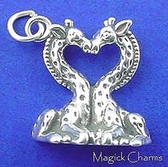 Magick Charms Sterling Silver Charm Supply Shop by MagickCharms Giraffe Heart, Love Charms, Love Valentines, Kissing, Silver Charms, Heart Charm, Magick, Heart Shapes, Etsy Seller